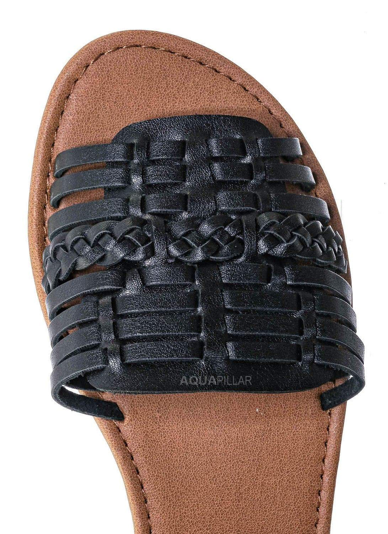 Black / Candle Woven Fisherman Huaraches Flat Peep Toe Sandal, Strappy Cage Gladiators
