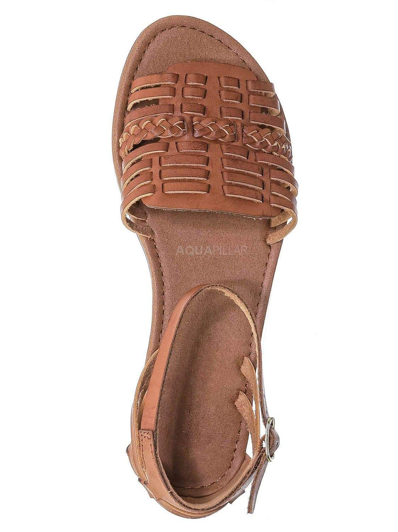 Tan / Candle Woven Fisherman Huaraches Flat Peep Toe Sandal, Strappy Cage Gladiators