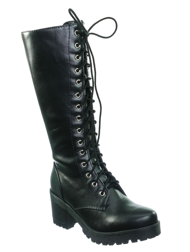 Black Pu / Canopy Black Pu Block Heel Combat Boots - Women Lug Sole Military Lace Ups