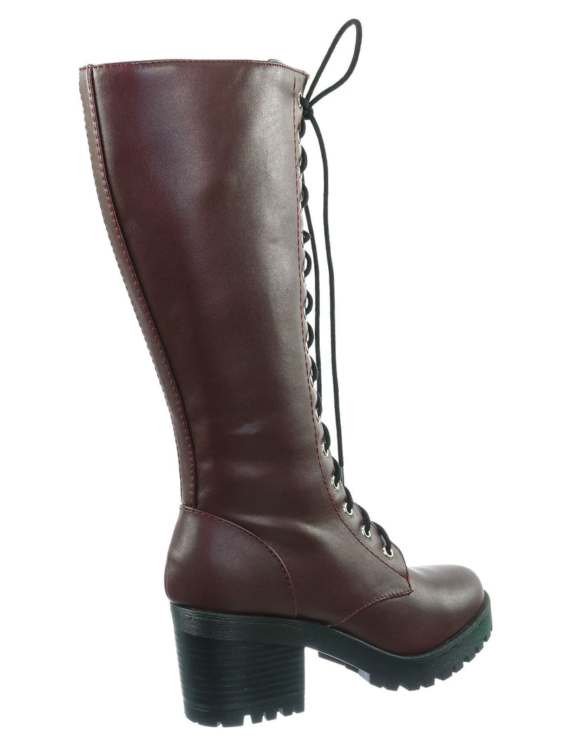 Wine Red / Canopy Wine Red Block Heel Combat Boots - Women Lug Sole Military Lace Ups