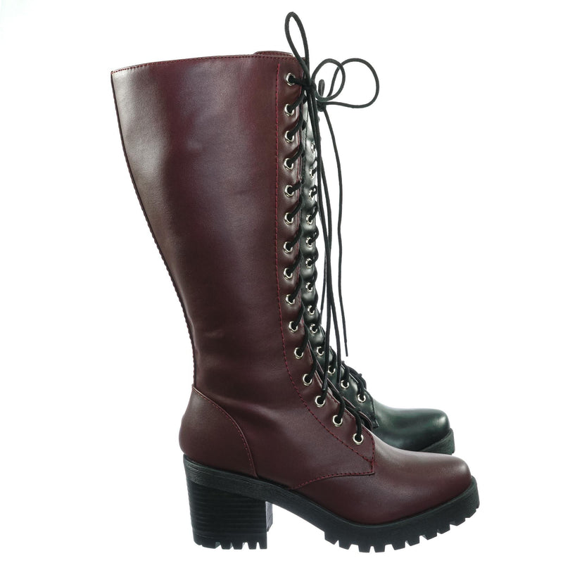 Canopy Block Heel Combat Boots - Women Lug Sole Military Lace Ups