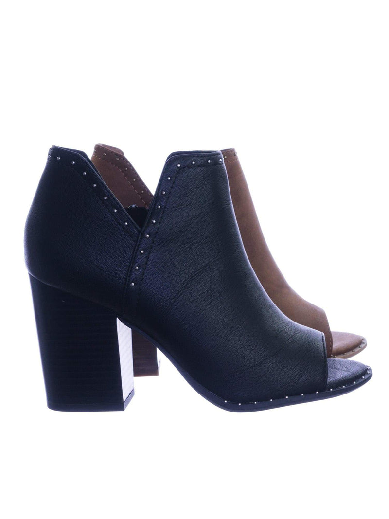 Caring BlackNbPu Metal Stud Ankle Bootie Chunky Block Stack Heel Peep Toe Side Slit Cutout