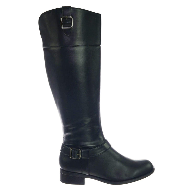 Carpet BlackPu Womens Fashion Riding Boot w Harness and Block Heel, Equestrian Inspired