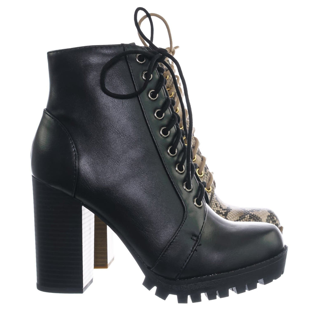 BlueSnk / Chalet BlueSnk Lace Up Combat Boots - Women Military Fashion  Lita Bootie