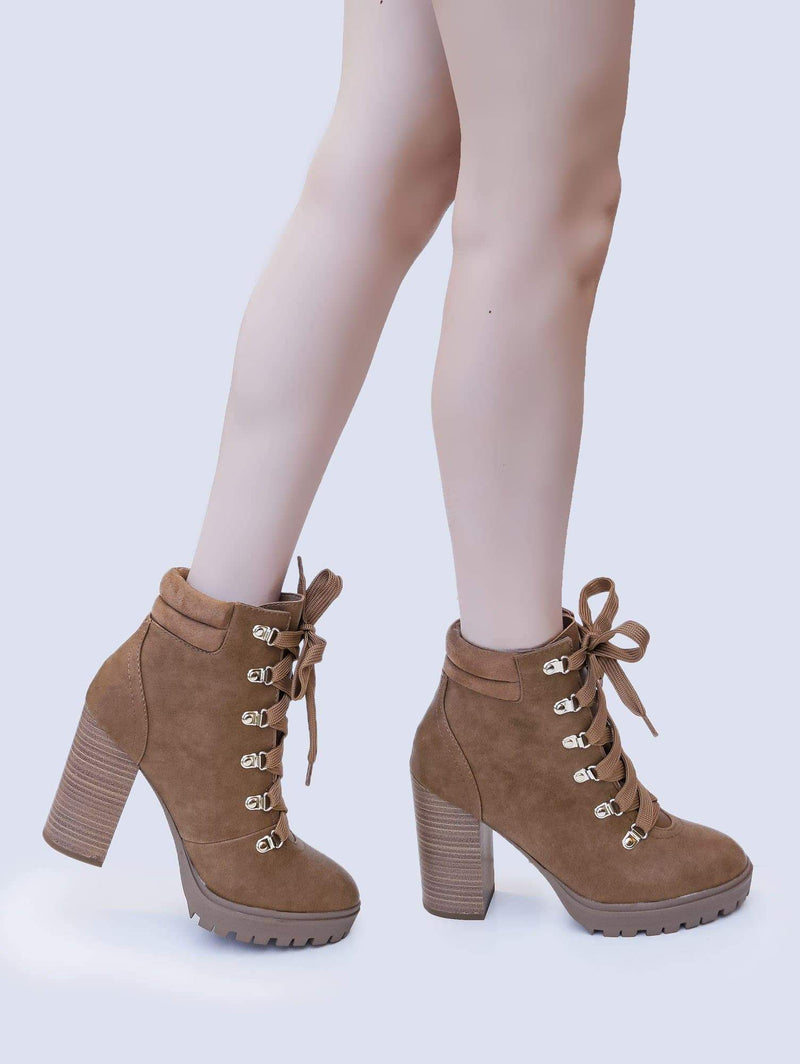 Chamois Brown / Chard Chamois Brown Lita Combat Bootie - Women Chunky Block High Heel Lug Sole Boots