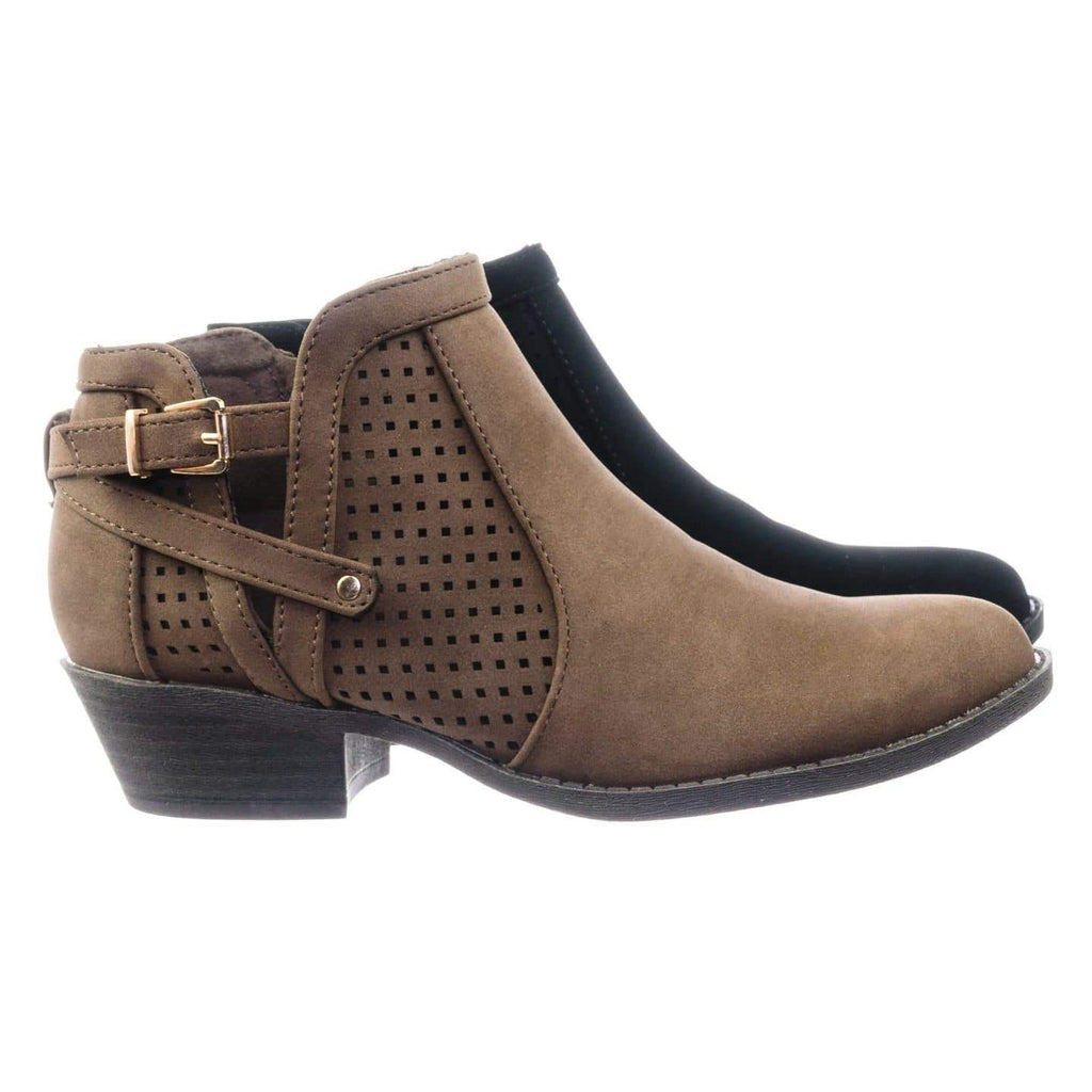 Chevy38 Brown Block Heel Ankle Booties w Side Slit Open Buckle & Perforated Cut