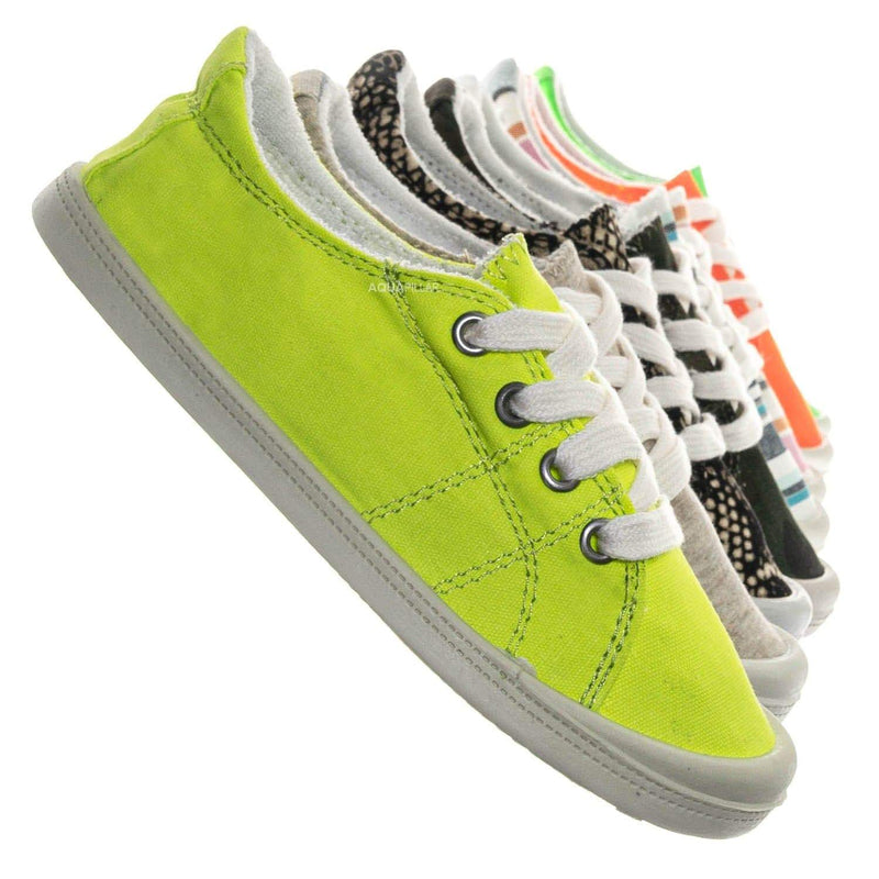 Yellow Neon / Comfort01K Vintage Flexible Rubber Sneaker - Women Canvas Comfort Bendable Shoes