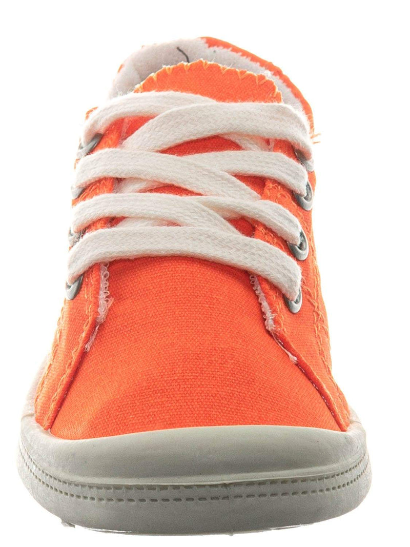 Orange Neon / Comfort01K Vintage Flexible Rubber Sneaker - Women Canvas Comfort Bendable Shoes