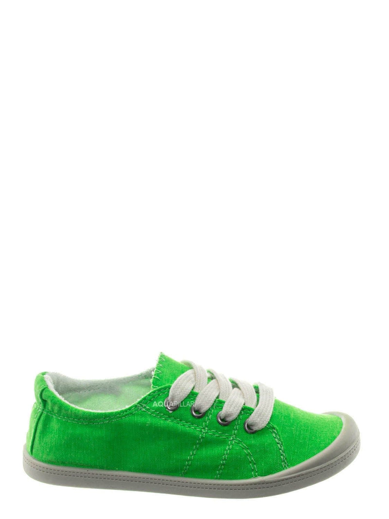 Green Neon / Comfort01K Vintage Flexible Rubber Sneaker - Women Canvas Comfort Bendable Shoes
