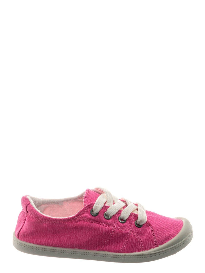 Fuchsia Neon / Comfort01K Vintage Flexible Rubber Sneaker - Women Canvas Comfort Bendable Shoes