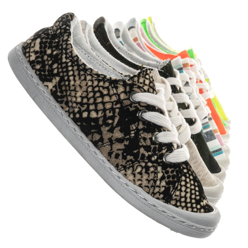 Snake / Comfort01K Vintage Flexible Rubber Sneaker - Women Canvas Comfort Bendable Shoes