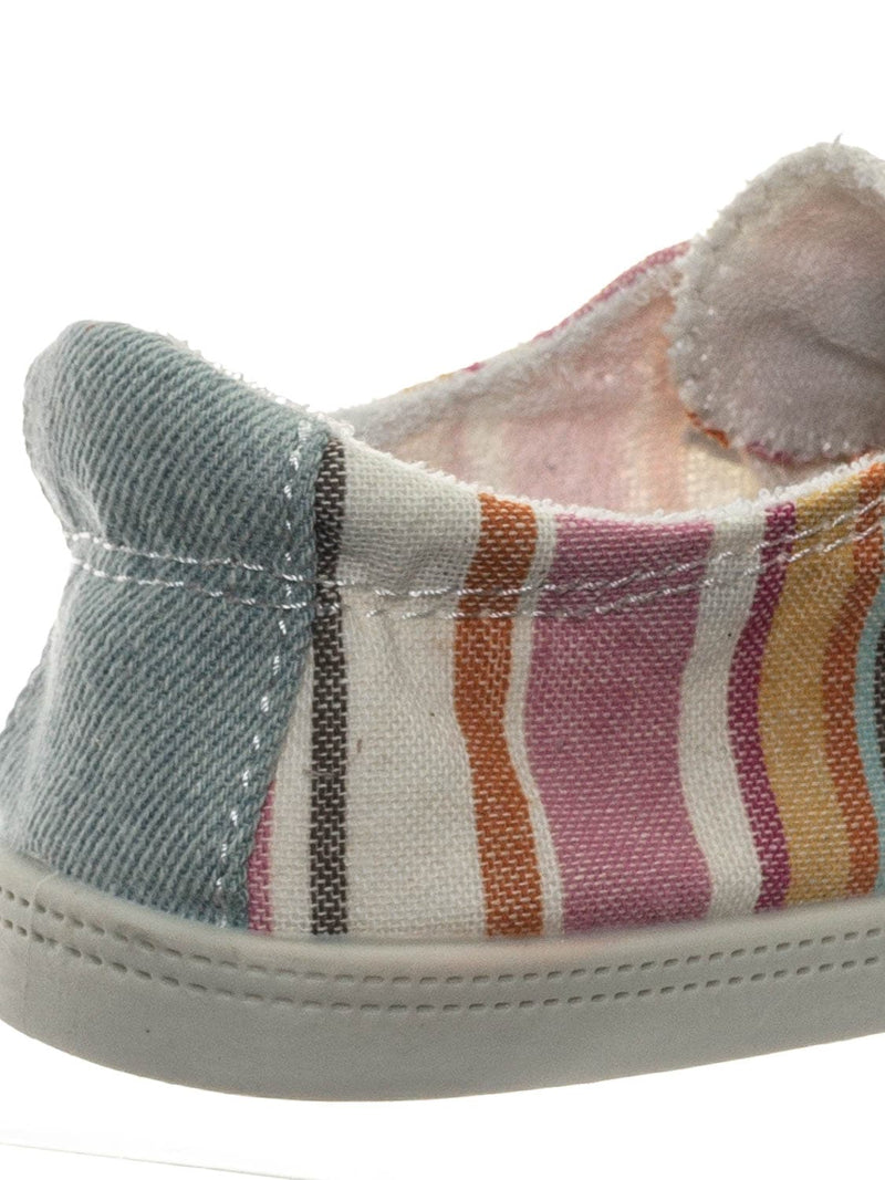 Pink Multi / Comfort01K Vintage Flexible Rubber Sneaker - Women Canvas Comfort Bendable Shoes