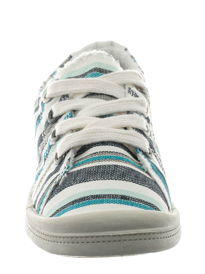 Blue Multi / Comfort01K Vintage Flexible Rubber Sneaker - Women Canvas Comfort Bendable Shoes
