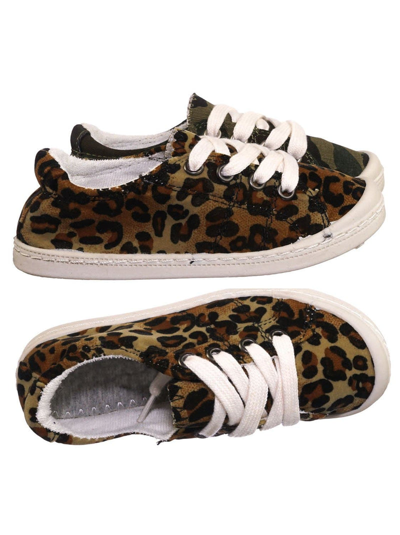 Leopard / Comfort01K Vintage Flexible Rubber Sneaker - Women Canvas Comfort Bendable Shoes