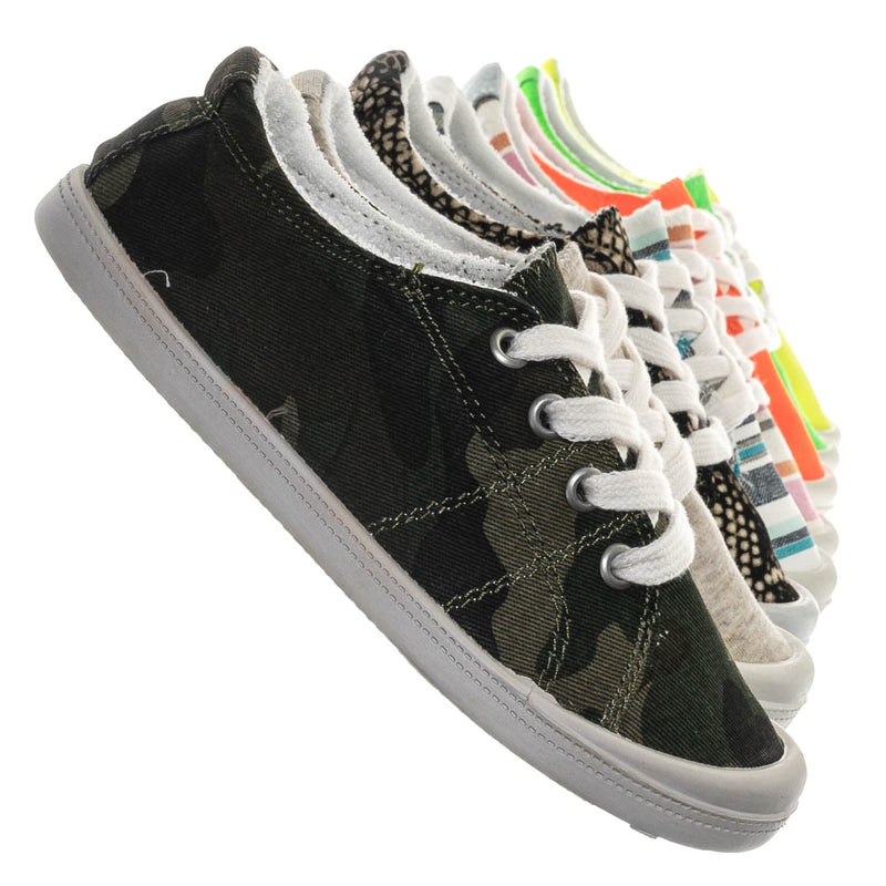 Camouflage / Comfort01K Vintage Flexible Rubber Sneaker - Women Canvas Comfort Bendable Shoes