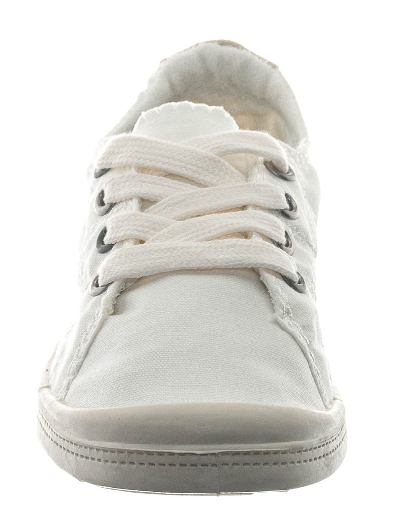 White / Comfort01K Vintage Flexible Rubber Sneaker - Women Canvas Comfort Bendable Shoes
