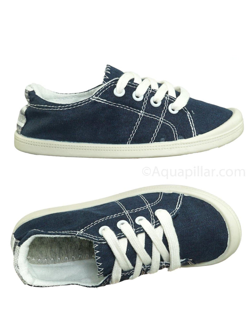 Navy / Comfort01K Vintage Flexible Rubber Sneaker - Women Canvas Comfort Bendable Shoes
