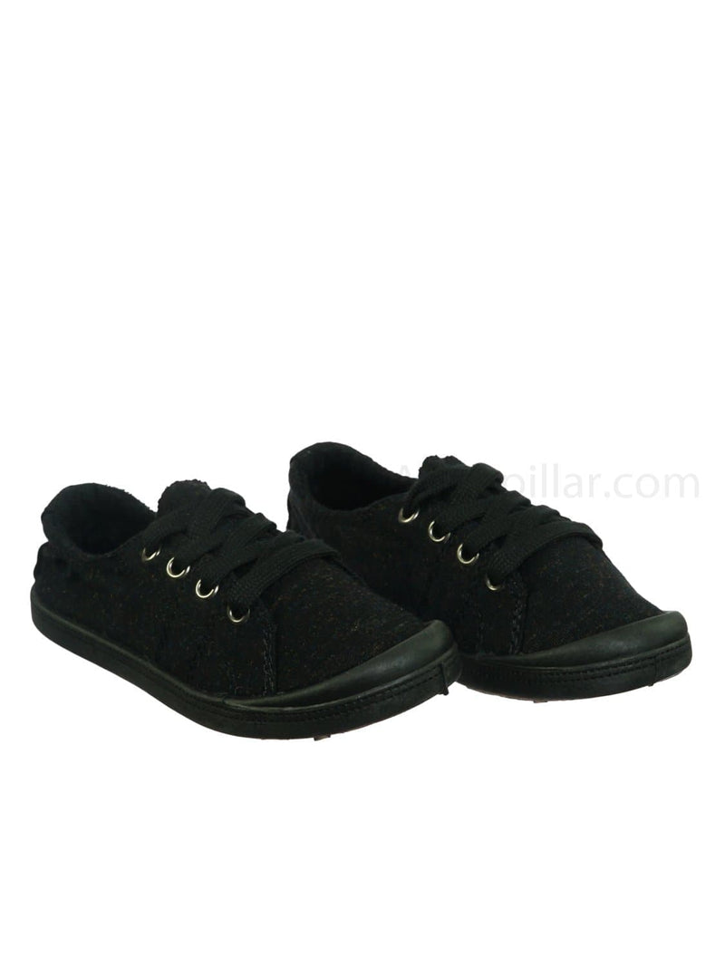 Charcoal / Comfort01K Vintage Flexible Rubber Sneaker - Women Canvas Comfort Bendable Shoes