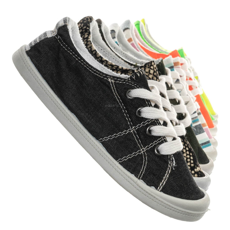 Black / Comfort01K Vintage Flexible Rubber Sneaker - Women Canvas Comfort Bendable Shoes