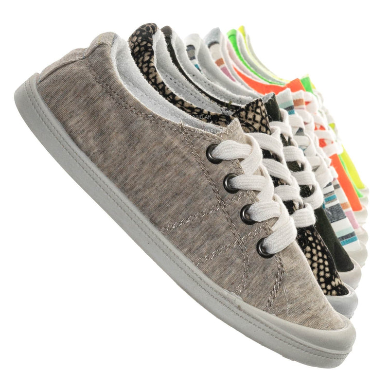 Beige / Comfort01K Vintage Flexible Rubber Sneaker - Women Canvas Comfort Bendable Shoes