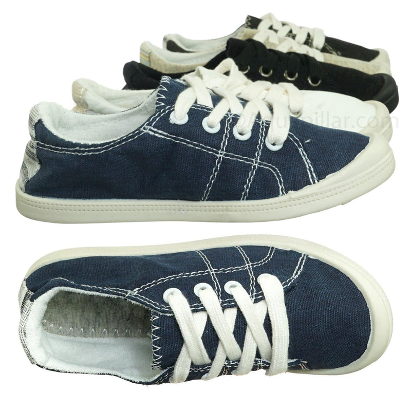 Comfort01K Vintage Flexible Rubber Sneaker - Women Canvas Comfort Bendable Shoes