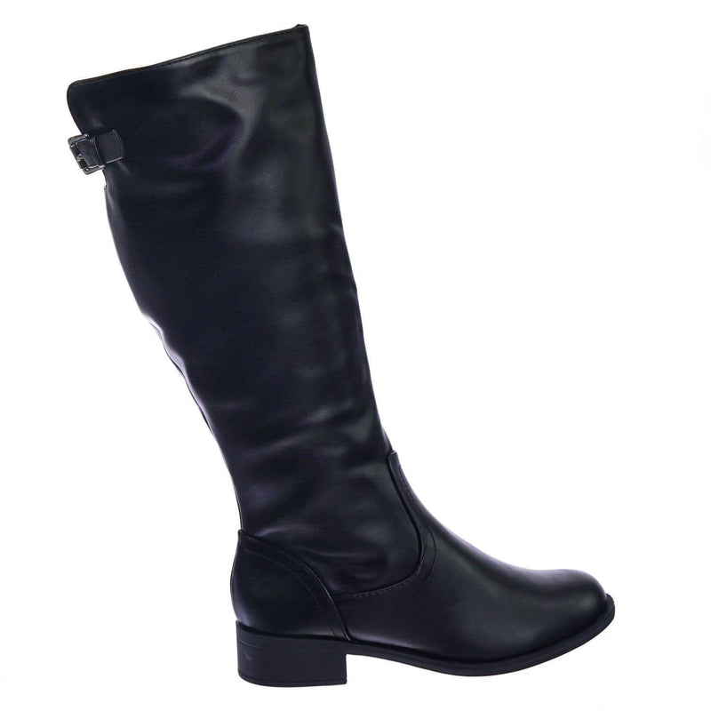 Court BlkPu Fashion Riding Boots w Low Block Heel