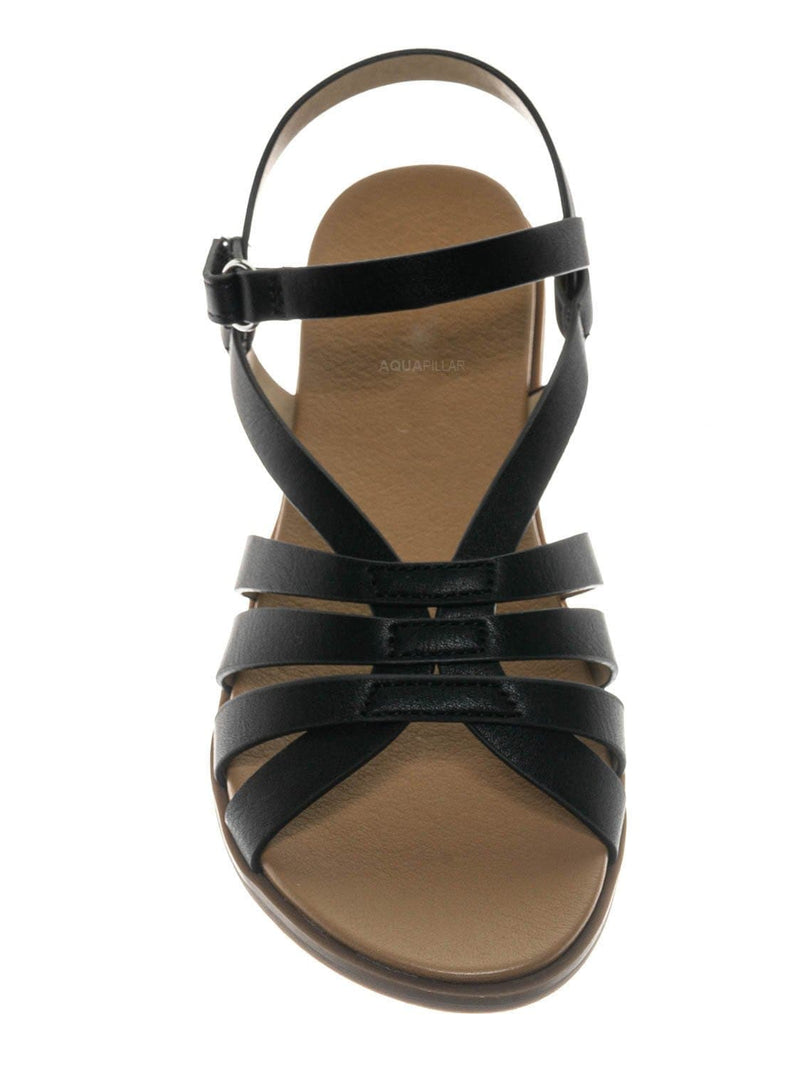 Black / Create2 Childrens Gummy Cage Sandal - Kids Woven Huarache Strappy Shoes