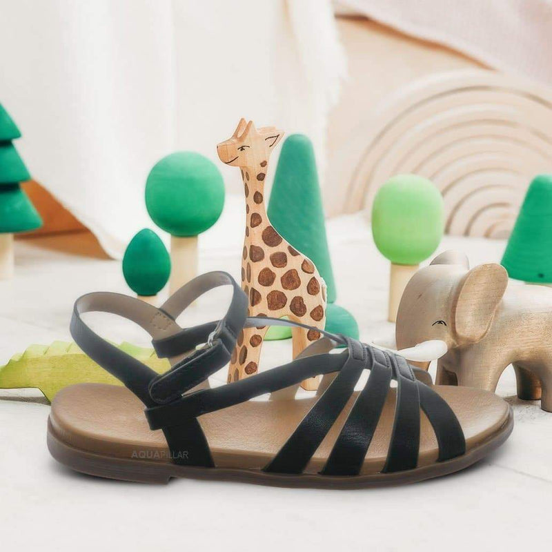 Create2 Childrens Gummy Cage Sandal - Kids Woven Huarache Strappy Shoes