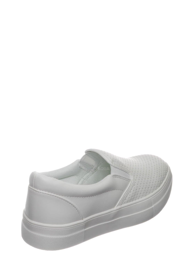 White / Croft Perforated Padded Platform Sneaker - Slip on Slide In Athleisure Loafers