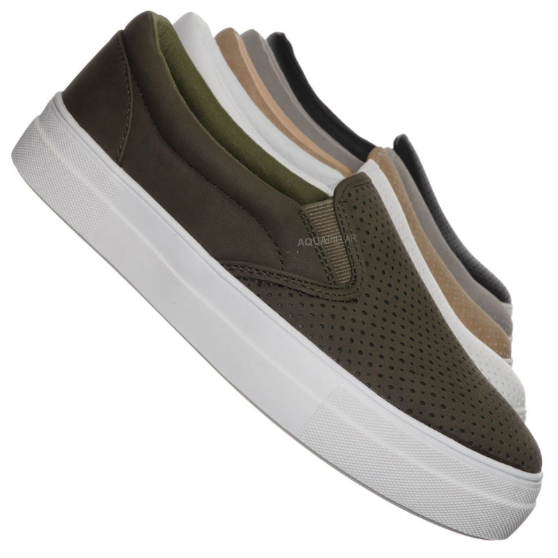 Olive Green / Croft Perforated Padded Platform Sneaker - Slip on Slide In Athleisure Loafers