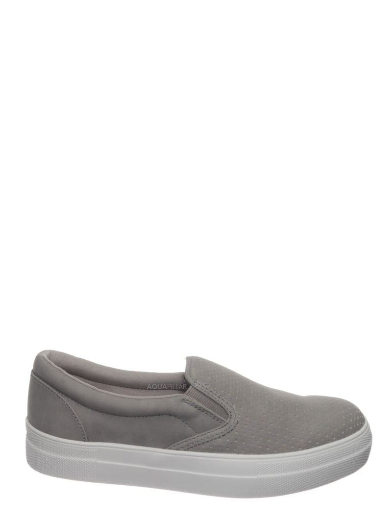 Clay Gray / Croft Perforated Padded Platform Sneaker - Slip on Slide In Athleisure Loafers