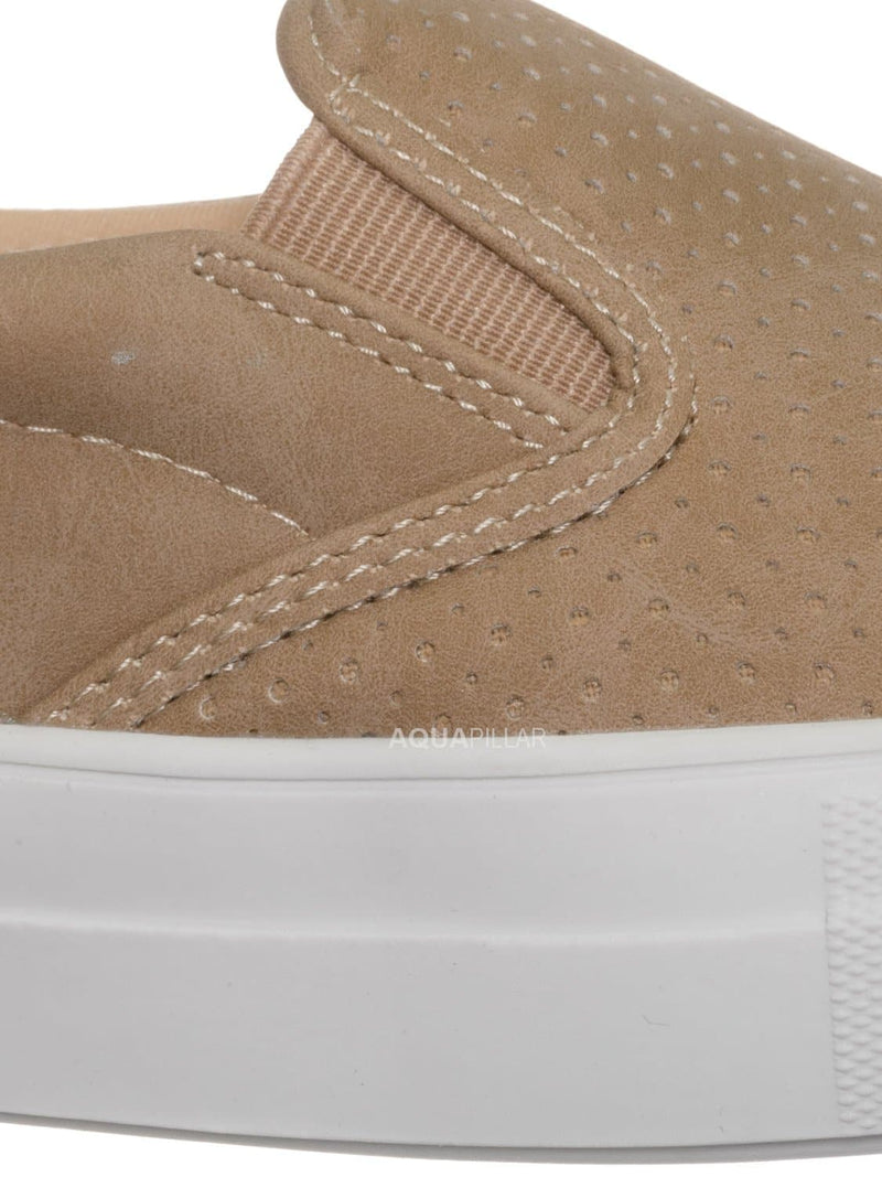Camel Beige / Croft Perforated Padded Platform Sneaker - Slip on Slide In Athleisure Loafers