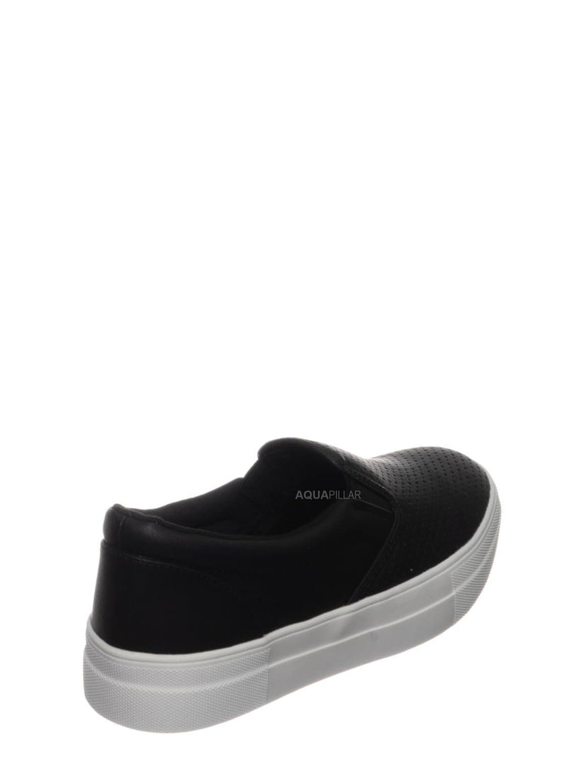 Black Pu / Croft Perforated Padded Platform Sneaker - Slip on Slide In Athleisure Loafers
