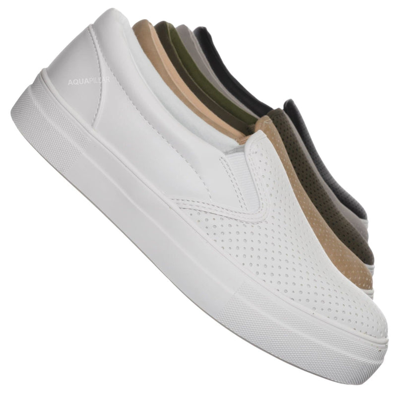 Croft Perforated Padded Platform Sneaker - Slip on Slide In Athleisure Loafers