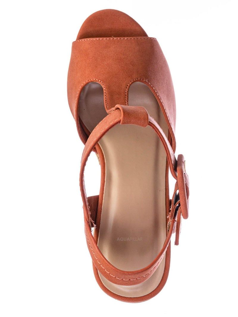 Peach Orange / Danka Platform Wedge Heel T Strap Sandals - Womens  Dressy Peep Toe Shoes