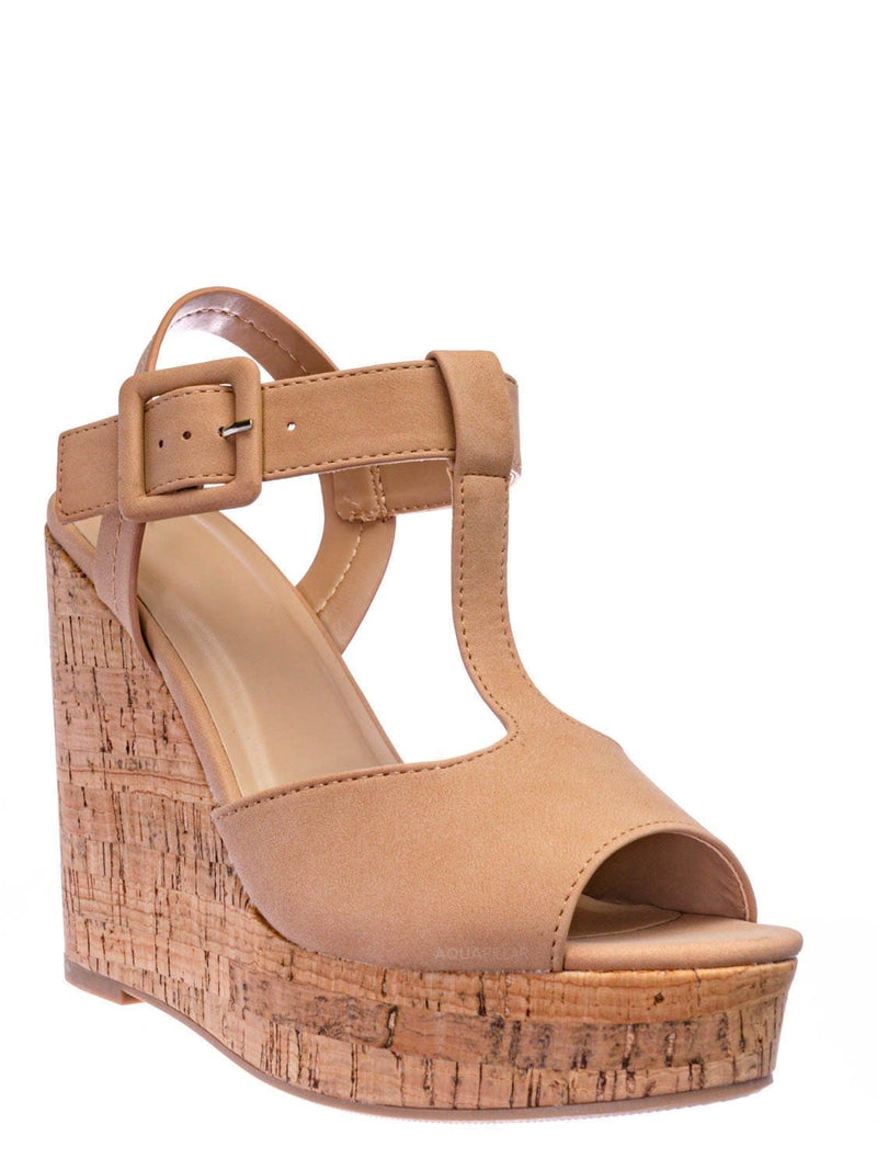 Nude Beige / Danka Platform Wedge Heel T Strap Sandals - Womens  Dressy Peep Toe Shoes