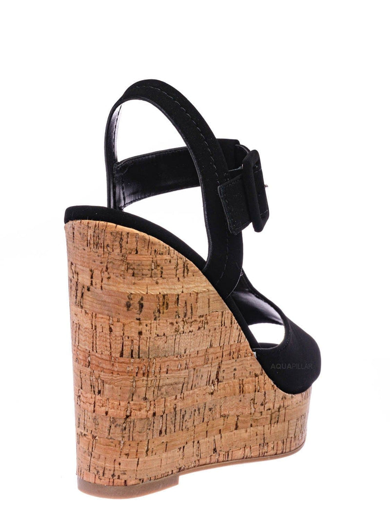 Black Cork / Danka Platform Wedge Heel T Strap Sandals - Womens  Dressy Peep Toe Shoes