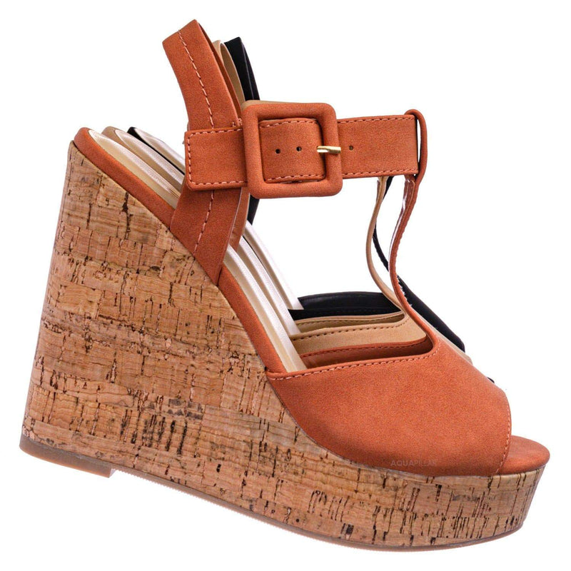 Danka Platform Wedge Heel T Strap Sandals - Womens  Dressy Peep Toe Shoes