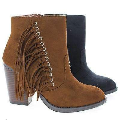 Dimple By Soda, Ankle Boots w Stacked Block Heel & Side Fringes