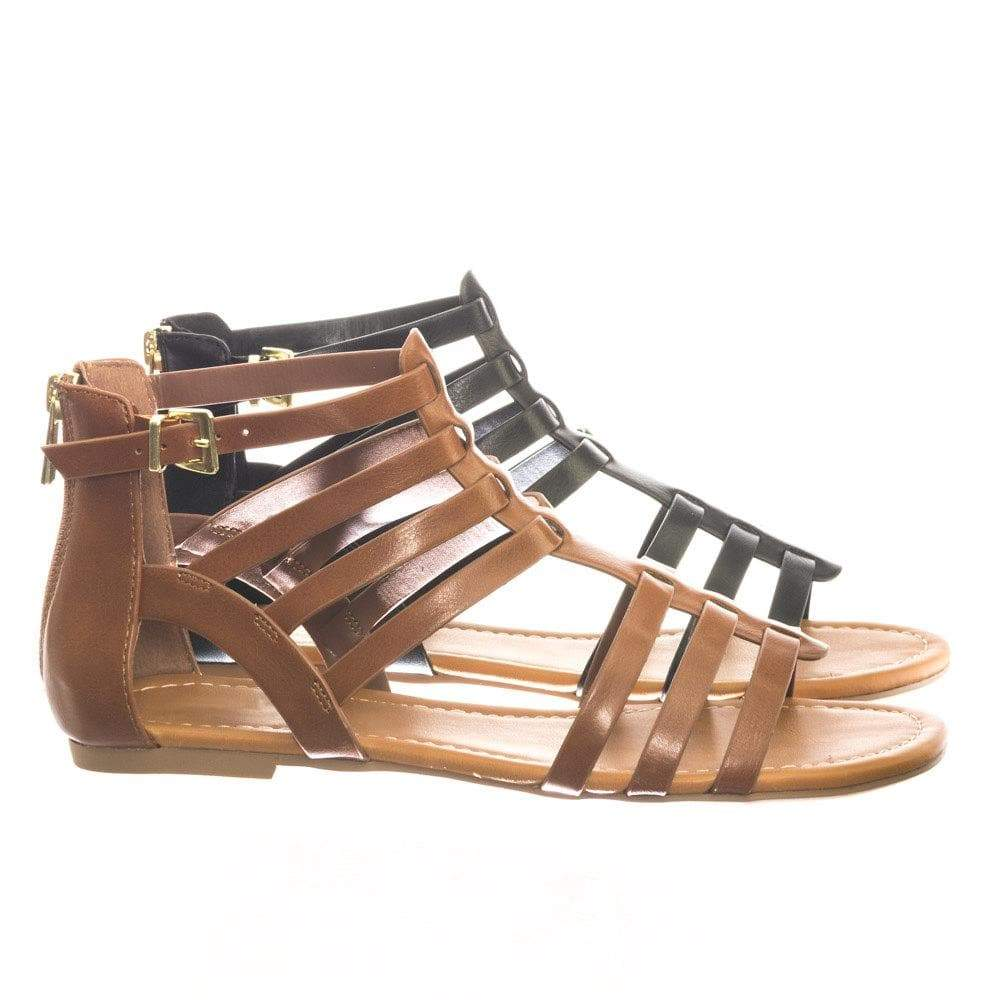 Dixon TanPu Gladiator Inspired Ankle High Cage Strap Flat Sandal w Zipper Closure