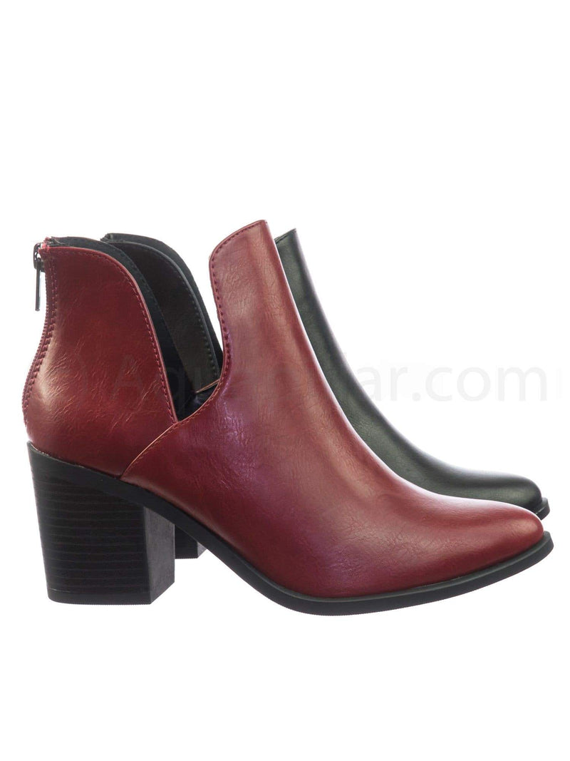 Durable RedPu Stack Block Heel Ankle Booties w Side Slit Opening