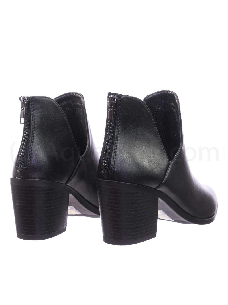 Durable BlackPu Stack Block Heel Ankle Booties w Side Slit Opening