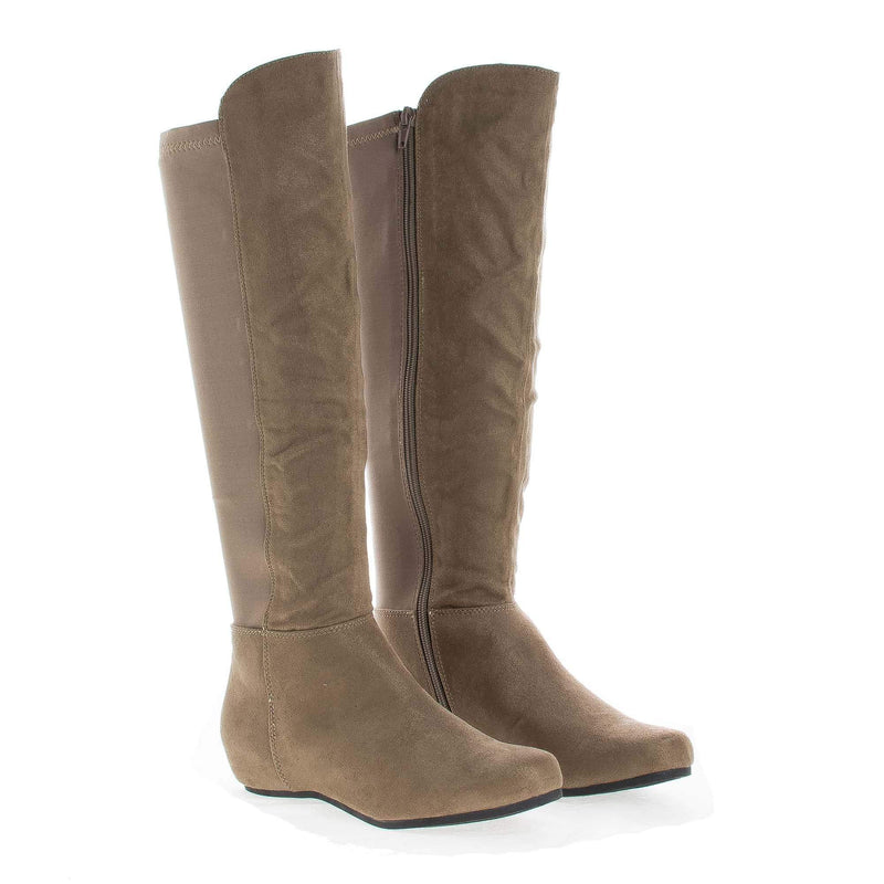 Entry Taupe By Soda, Knee High Stretchy Shaft Zip Up Riding Boots