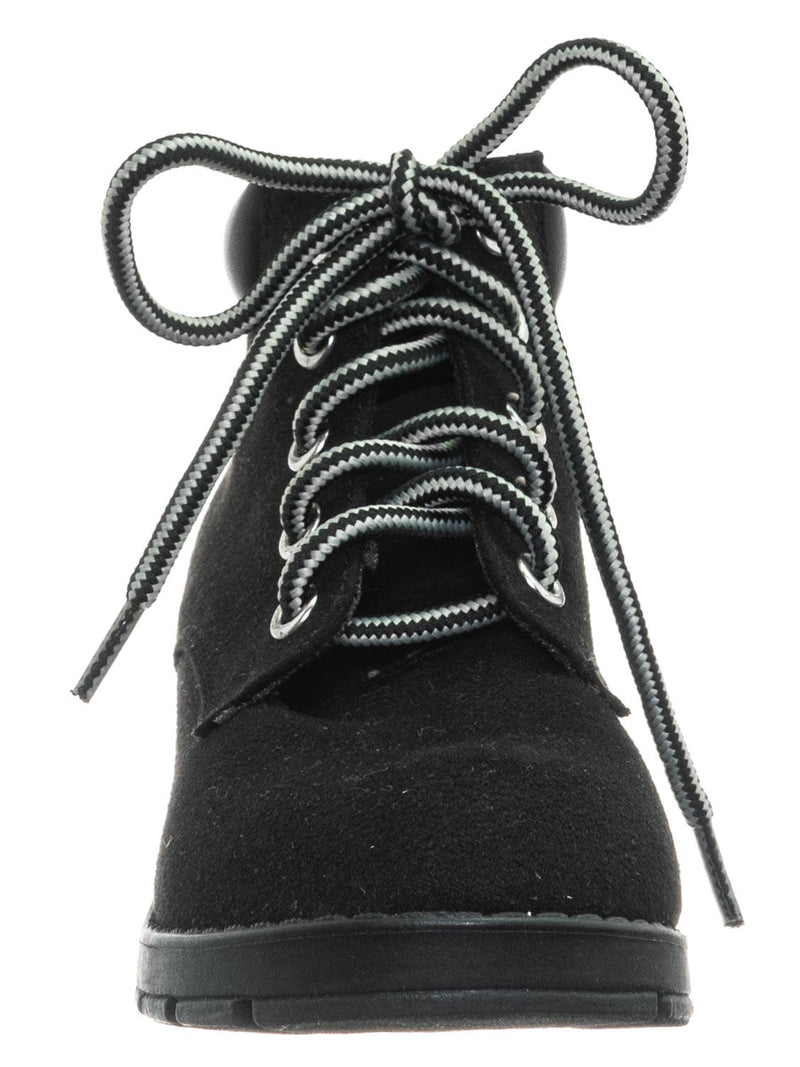 Black / EquityIIH Childrens Block Heel Work Boot - Kid Heavy Lace Up Combat Hiking Shape