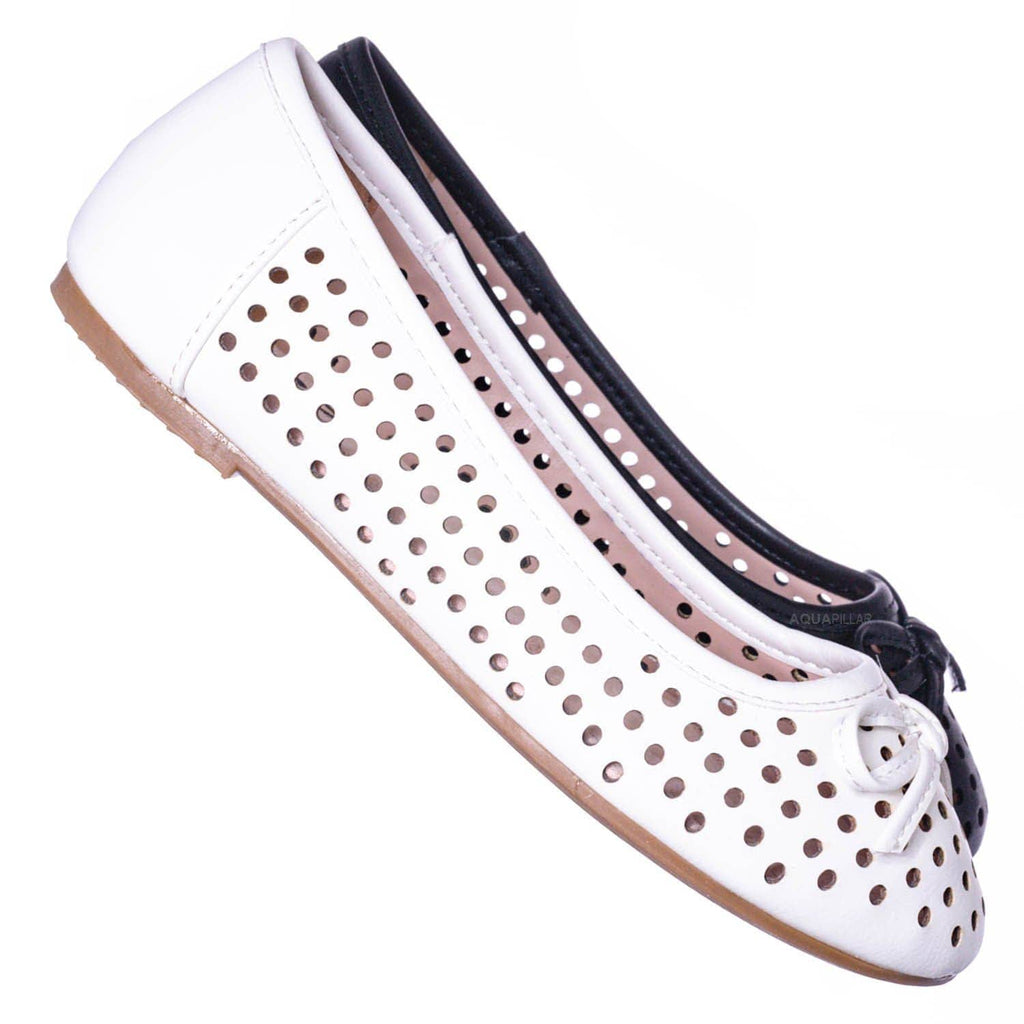 White Pu / Fleet2 Girls Perforated Ballerina Flats - Childerns Slip On Shoes With Bowtie