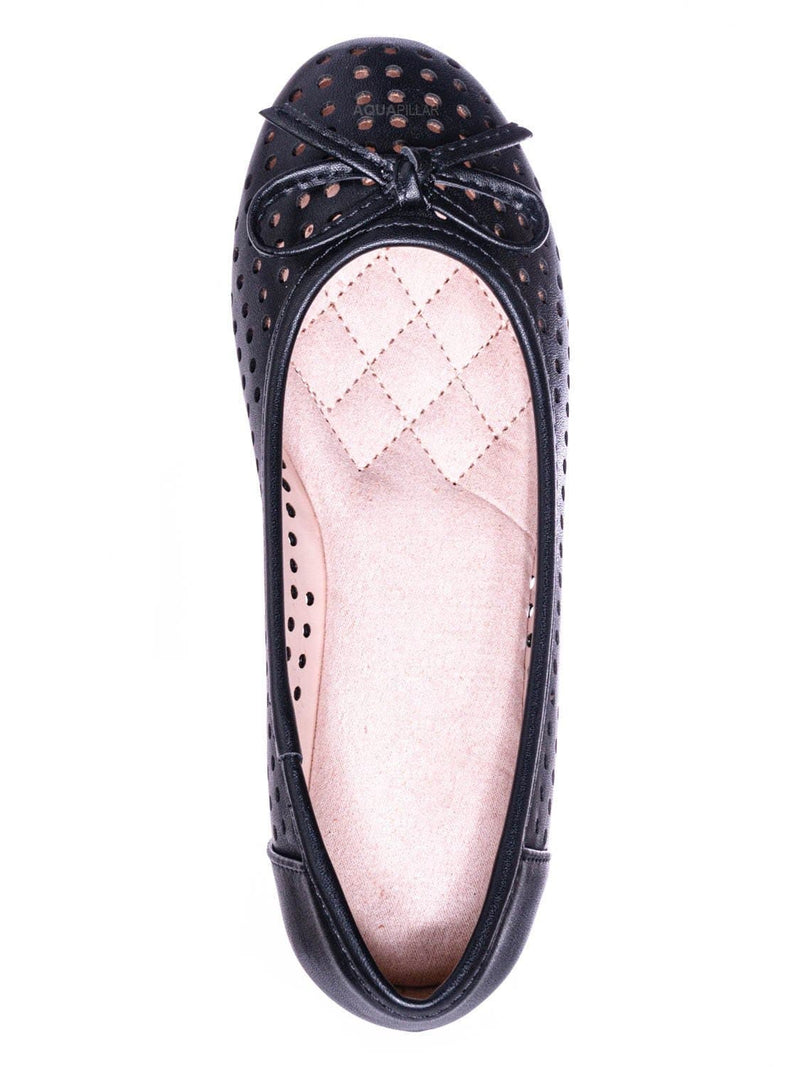 Black Pu / Fleet2 Girls Perforated Ballerina Flats - Childerns Slip On Shoes With Bowtie