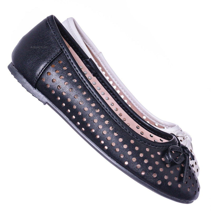 Fleet2 Girls Perforated Ballerina Flats - Childerns Slip On Shoes With Bowtie