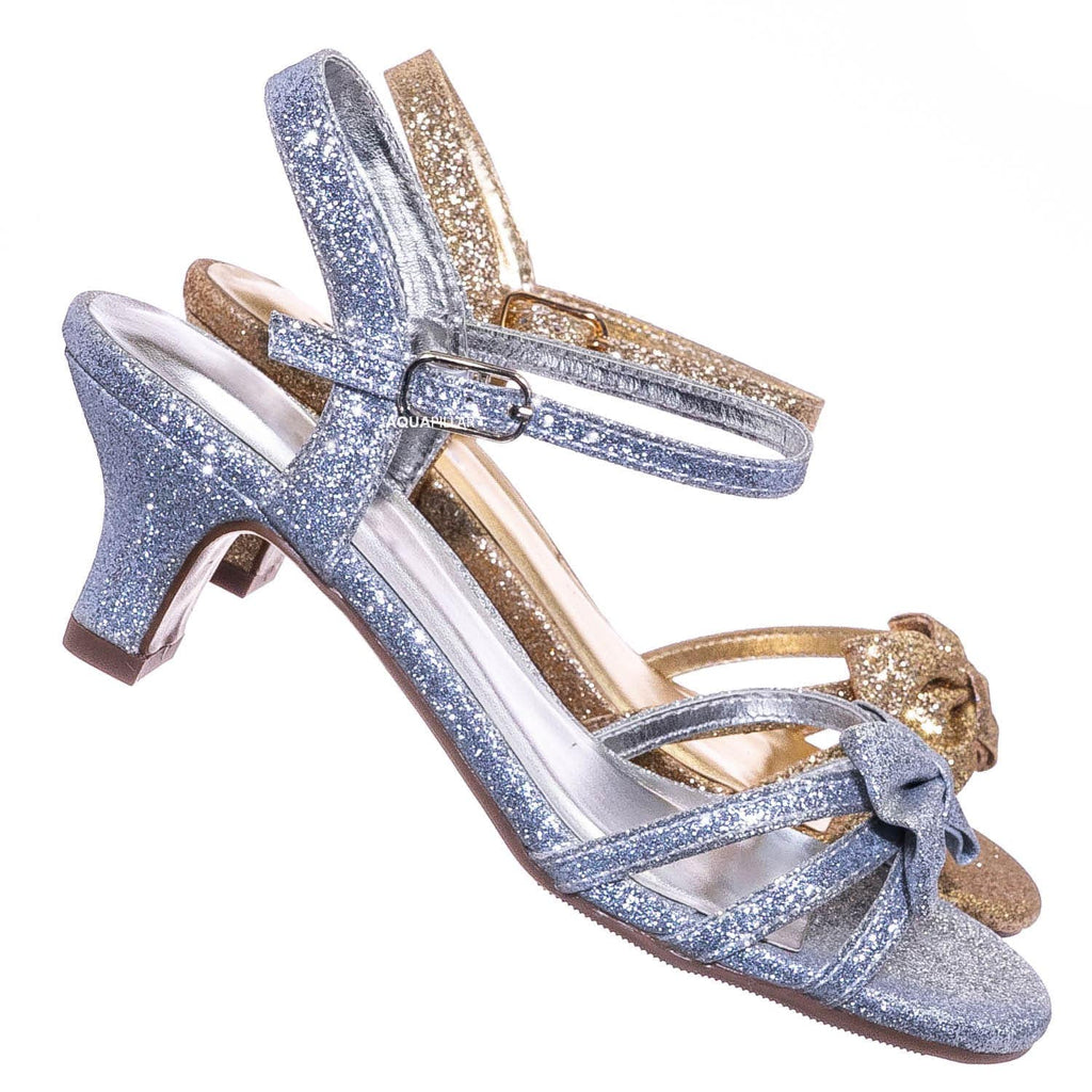 Silver Glt / GirlyII Children Girls Block Heel Sandal - Kids Bow Glitter Dress Shoes