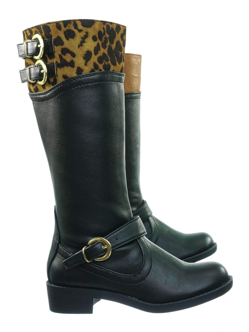 GolfIIS Childrens Equestrian Riding Boot - Girl Kid Belted  Moto Western 2 Tone