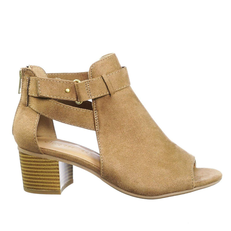 Invest TanIsu Chunky Block Heel Side Cutout Ankle Bootie w Double Belted Detail